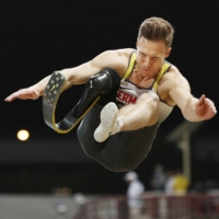 Germany's Markus Rehm competes in the men's long jump T64 final at the World Para Athletics Championships in November 2019 in Dubai. | KYODO