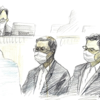 A court illustration shows Kudo-kai head Satoru Nomura (center) and Fumio Tanoue (right), a second-ranking member of the gang, listening to a ruling handed down at the Fukuoka District Court Tuesday. | KYODO