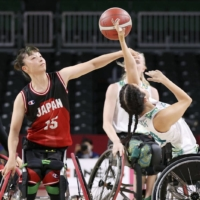 Japan and Australia meet in the preliminary round of women's wheelchair basketball on Wednesday at Musashino Forest Sport Plaza. | KYODO