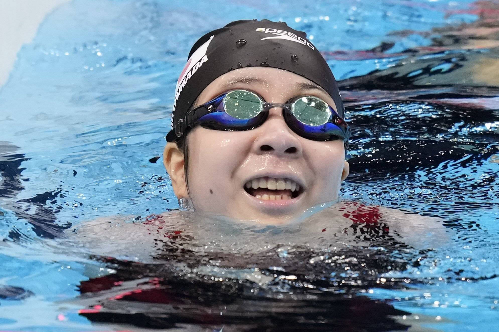 Miyuki Yamada after winning silver in women's 100-meter backstroke S2 class, Japan's first medal of the Paralympic Games   KYODO
