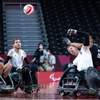 Men's wheelchair rugby match between Britain and New Zealand    AFP-JIJI