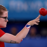 Britain's Claire Taggart competes in the boccia individual BC2 class at Ariake Gymnastics Centre in Tokyo on Saturday.    AFP-JIJI