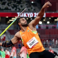 Sumit Antil broke the world record three times during the F64 javelin throw competition on Monday.   REUTERS