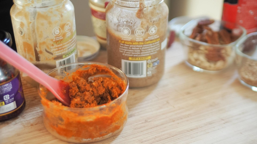 Mix nut butters, nerigoma and tobanjan pastes together in a bowl. | SIMON DALY