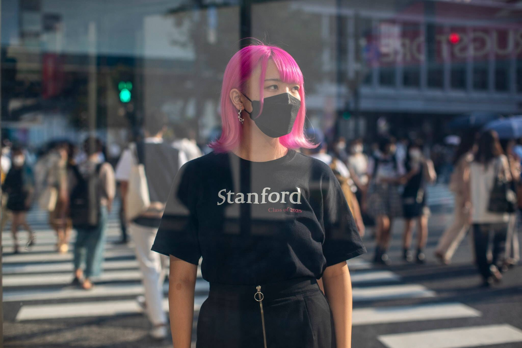 Anna Matsumoto is headed to Stanford to study engineering. A bit of a rebel against Japan's cultural expectations, she dyed her hair after her graduation.   SHIHO FUKADA / THE NEW YORK TIMES