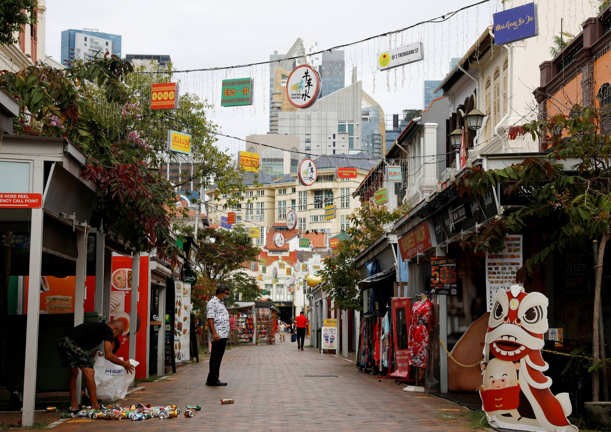 The largely empty Chinatown tourist district in Singapore on Monday | REUTERS