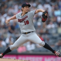 Minnesota Twins starting pitcher Kenta Maeda pitches against the New York Yankees on Aug. 21.  | USA TODAY / VIA REUTERS