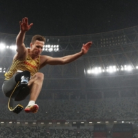 Markus Rehm of Germany in action during the men's long jump T64 final.  | REUTERS