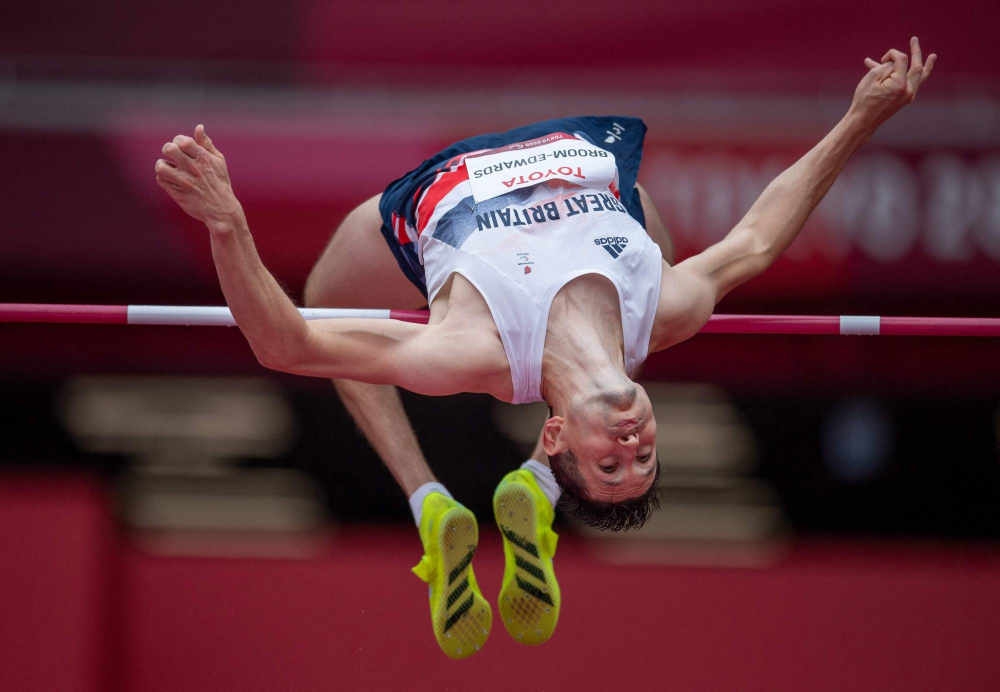 Britain's Jonathan Broom-Edwards competes in the men's T64 high jump.   OIS