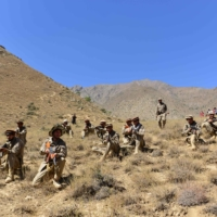Anti-Taliban forces conduct a military drill. Panjshir province remains the last major holdout of anti-Taliban forces.  | AFP-JIJI