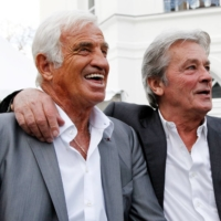 Belmondo and Alain Delon (right) attend the inauguration of Paul Belmondo Museum in 2010. The museum, located in the Boulogne-Billancourt suburb of Paris, is dedicated to the work of Jean-Paul Belmondo's father.   AFP-JIJI