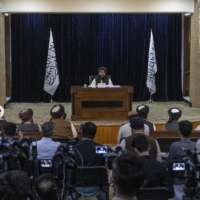Zabihullah Mujahid, spokesman for the Taliban, during a news conference to announce an acting Cabinet for the new Taliban government in Kabul on Tuesday   VICTOR J. BLUE / THE NEW YORK TIMES