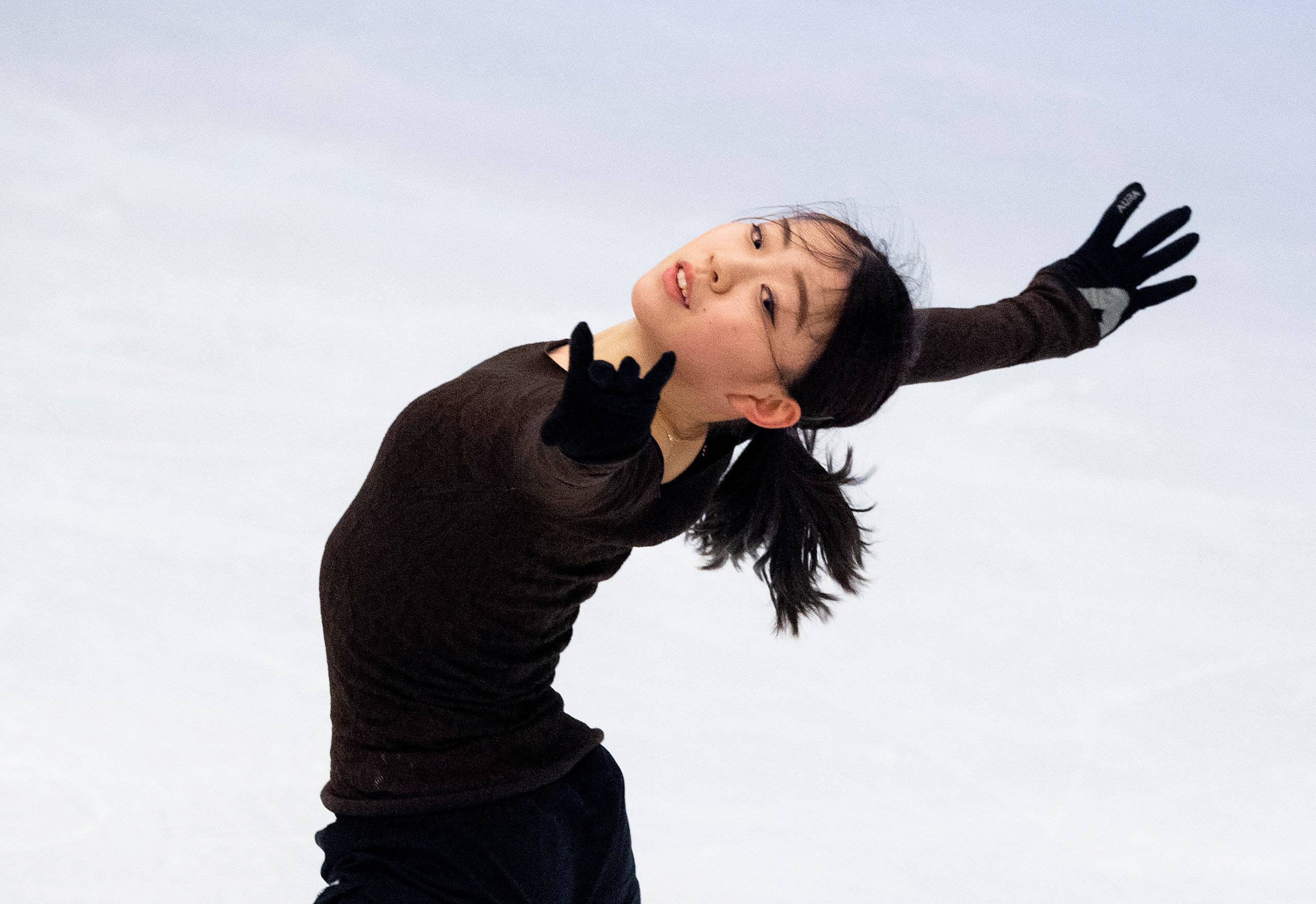 Rika Kihira trains ahead of the World Figure Skating Championships on March 22 in Stockholm.   TT NEWS AGENCY / VIA REUTERS