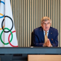 IOC President Thomas Bach speaks during an executive board meeting at the Olympic House in Lausanne, Switzerland, on Wednesday. | IOC / VIA REUTERS