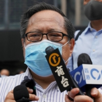 Pro-democracy activist Albert Ho speaks to the media in May.   REUTERS