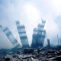 Rubble of the twin towers of the World Trade Center in lower Manhattan, New York, on Sept. 11, 2001   AFP-JIJI