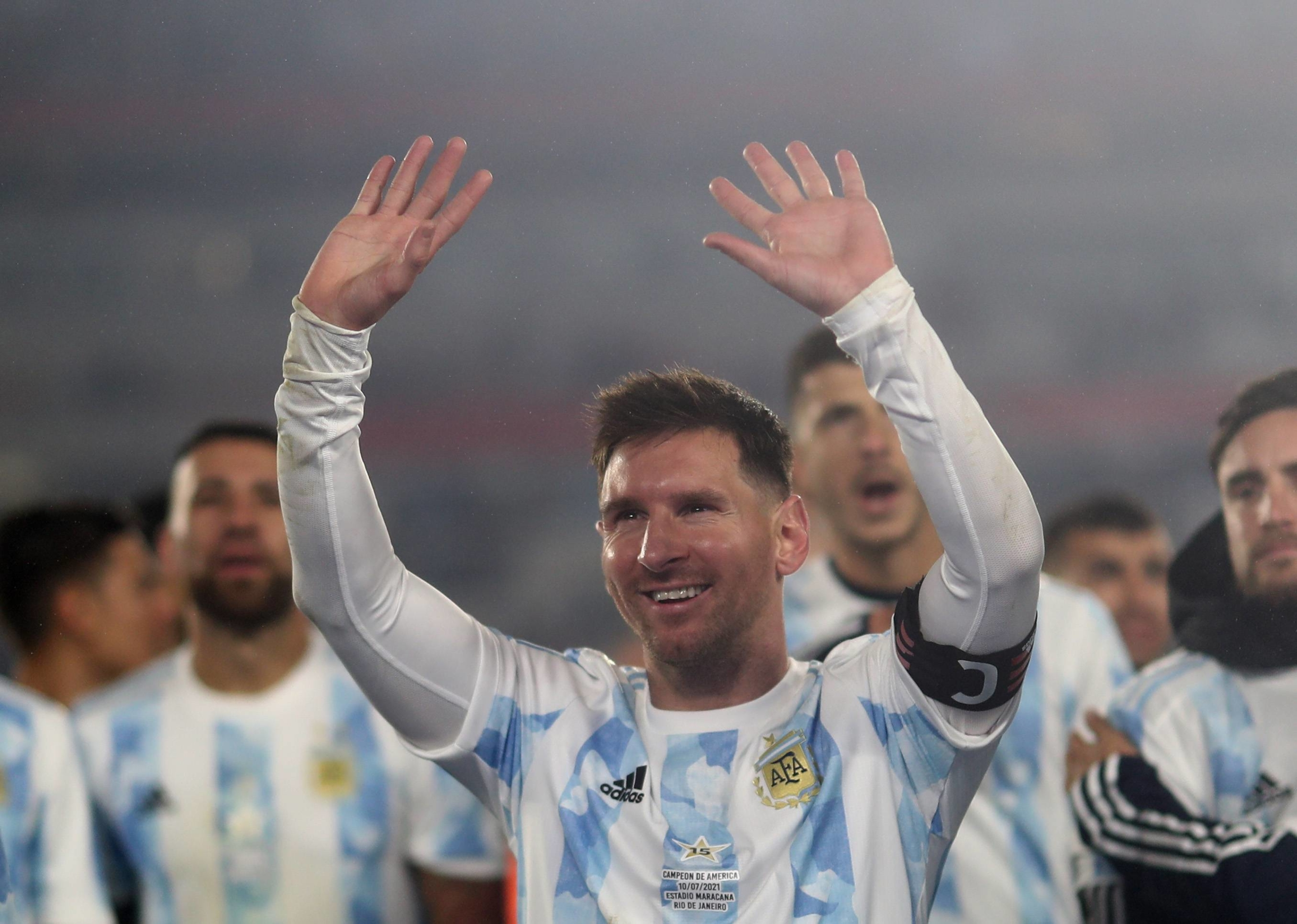 Lionel Messi celebrates following Argentina's win over Bolivia in their World Cup qualifier on Thursday in Buenos Aires.   POOL / VIA REUTERS