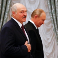 Russian President Vladimir Putin and his Belarusian counterpart, Alexander Lukashenko, meet at the Kremlin last week. With the world largely focused on the COVID-19 pandemic and global crises such as Afghanistan, few people are paying attention to a reported rise in repression by authoritarian states. | REUTERS