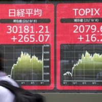The 225-issue Nikkei stock average ended above 30,000 for the first time in five months on Wednesday. | KYODO