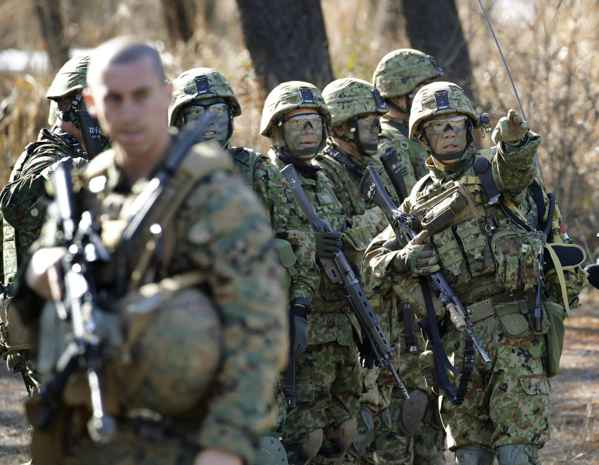 Japan and the United States conduct a joint military drill in Takashima, Shiga Prefecture, in February 2019.   KYODO