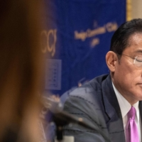 Former Foreign Minister Fumio Kishida of the Liberal Democratic Party attends a news conference at the Foreign Correspondents' Club of Japan in Tokyo on Monday. | AFP-JIJI