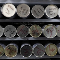 Ice core samples from a glacier are kept in a minus 30-degree freezer at the Byrd Polar and Climate Research Center in Columbus, Ohio, on Jan. 15. | REUTERS