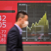 The Nikkei stock average rose to a 31-year high in Tokyo on Tuesday. | AFP-JIJI