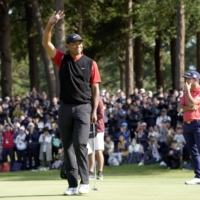The first Zozo Championship in 2019 was won by Tiger Woods at Narashino Country Club in Chiba Prefecture.     KYODO