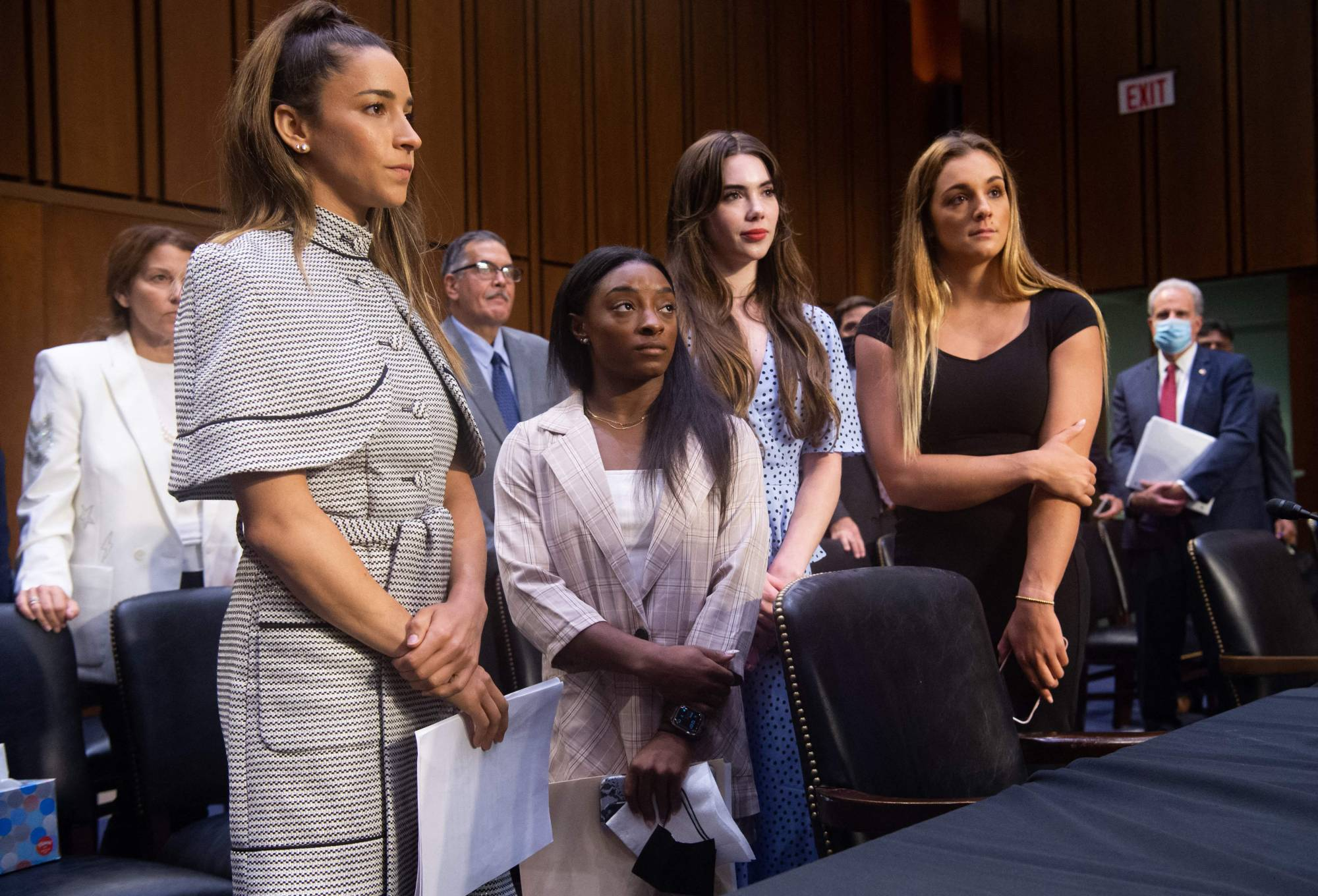 U.S. Olympic gymnasts (from left) Aly Raisman, Simone Biles, McKayla Maroney and Maggie Nichols leave after testifying during a Senate Judiciary hearing about the FBI's handling of the investigation into the sexual abuse of Olympic gymnasts. | AFP-JIJI