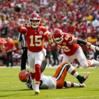 Chiefs quarterback Patrick Mahomes throws a pass against the Browns during their game in Kansas City, Missouri, on Sunday. | USA TODAY / VIA REUTERS