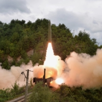 A missile is launched during a drill by the Railway Mobile Missile Regiment in North Korea, in this image supplied Thursday. | KCNA / VIA REUTERS