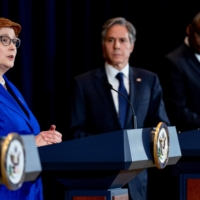 Australian Foreign Minister Marise Payne (left) speaks during a news conference with Australian Minister of Defense Peter Dutton (not pictured), U.S. Secretary of State Antony Blinken (center) and U.S. Secretary of Defense Lloyd Austin at the State Department in Washington on Thursday. | POOL / VIA REUTERS