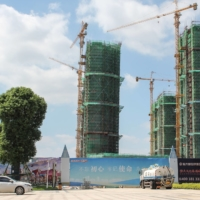 Halted construction on Evergrande Cultural Tourism City in Suzhou, China, on Friday.  | AFP-JIJI