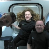 Jared Isaacman (from left to right), Hayley Arceneaux, Christopher Sembroski and Sian Proctor in orbit on Thursday   COURTESY OF INSPIRATION4 / VIA AFP-JIJI
