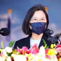 Taiwan President Tsai Ing-wen attends a commissioning ceremony for a new Ta Chiang guided-missile corvette in Suao, Taiwan, on Thursday. | BLOOMBERG