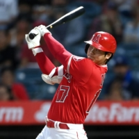 Ohtani is the first AL player  to record a 40-home run, 20-stolen base season since 2011. | USA TODAY / VIA REUTERS