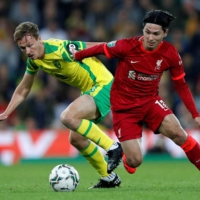 Takumi Minamino nets brace for Liverpool in cup win over Norwich
