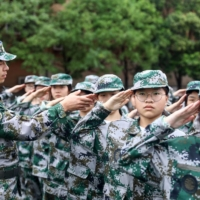 High school students take part in a military education and training session in Huaibei, China.  | AFP-JIJI