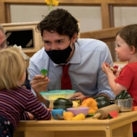 Canadian Prime Minister Justin Trudeau plays with children at a day care facility in Charlottetown, Prince Edward Island.    REUTERS