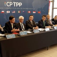 Representatives of the members of the Trans-Pacific Partnership trade deal take part in a news conference in Santiago, Chile, in May 2019.     REUTERS
