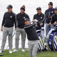 Spaniard Sergio Garcia, seen hitting a tee shot during practice on Wednesday, is Europe's all-time leading points scorer in the Ryder Cup. | REUTERS