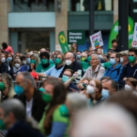 Climate change activists and Greens supporters attend a rally in Duesseldorf on Friday ahead of the German election.  | REUTERS