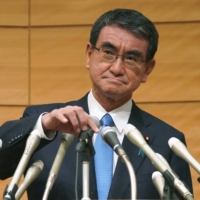 Taro Kono's reputation as a maverick is built upon tension between himself and the old LDP guard, but he appears to be moderating positions to accommodate his opponents.  | BLOOMBERG