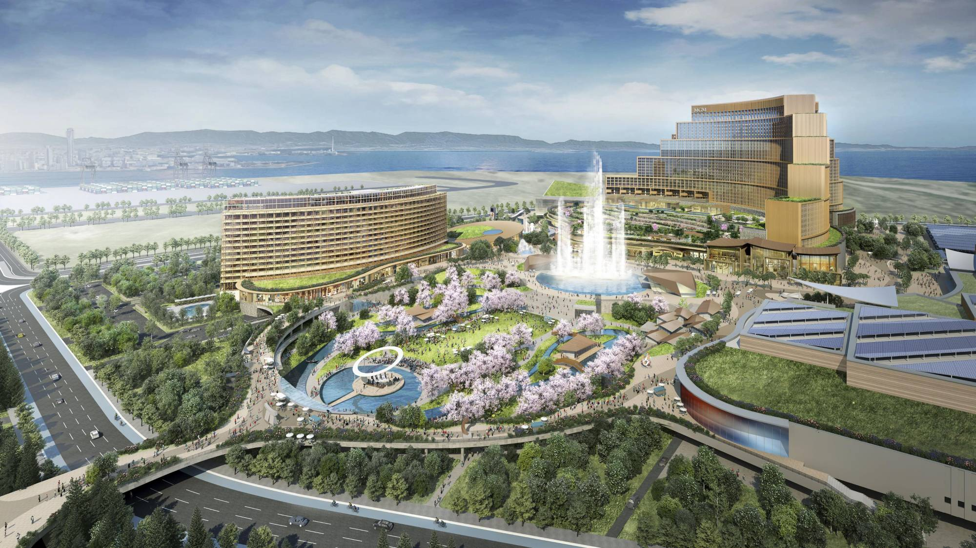 An artist's impression of an integrated casino complex planned for construction in Osaka. | COURTESY OF MGM RESORTS INTERNATIONAL AND ORIX CORP. / VIA KYODO