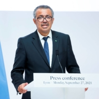WHO Director-General Tedros Adhanom Ghebreyesus holds a press conference on Monday in Lyon, France.    AFP-JIJI