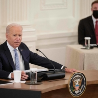 U.S. President Joe Biden speaks during a Quad meeting with leaders from Japan, Australia and India at the White House in Washington on Friday. | AFP-JIJI