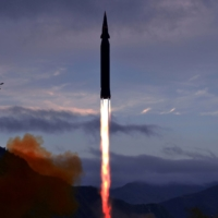 The newly developed hypersonic missile Hwasong-8 by North Korea in a photo released Wednesday.  | KCNA / VIA REUTERS