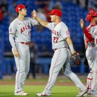 Shohei Ohtani (left) and Mike Trout (center) expressed frustration about playing through another losing season.  | USA TODAY / VIA REUTERS