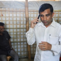 Mohib Ullah, a Rohingya Muslim leader from the Arakan Rohingya Society for Peace and Human Rights, at his residence in the Kutupalong refugee camp in April 2018.   REUTERS