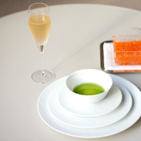 Meyer lemon-marinated ikura salmon roe from Hokkaido with cucumbers and horseradish-spiked potato vichyssoise is paired with 'Les Pierrieres' Blanc de Blancs Champagne by grower Ulysse Collin.   FOUR SEASONS HOTEL TOKYO AT MARUNOUCHI